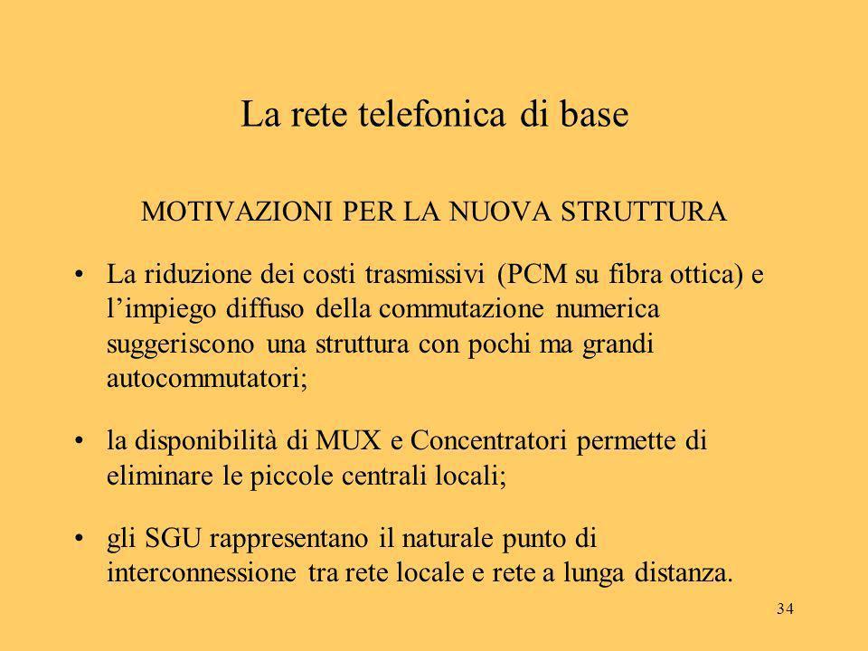 34 La rete telefonica di base MOTIVAZIONI PER LA NUOVA STRUTTURA La riduzione dei costi trasmissivi (PCM su fibra ottica) e limpiego diffuso della com