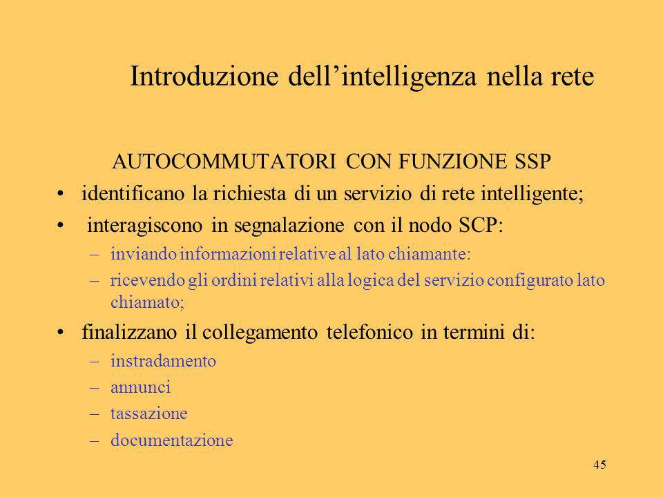 45 Introduzione dellintelligenza nella rete AUTOCOMMUTATORI CON FUNZIONE SSP identificano la richiesta di un servizio di rete intelligente; interagisc