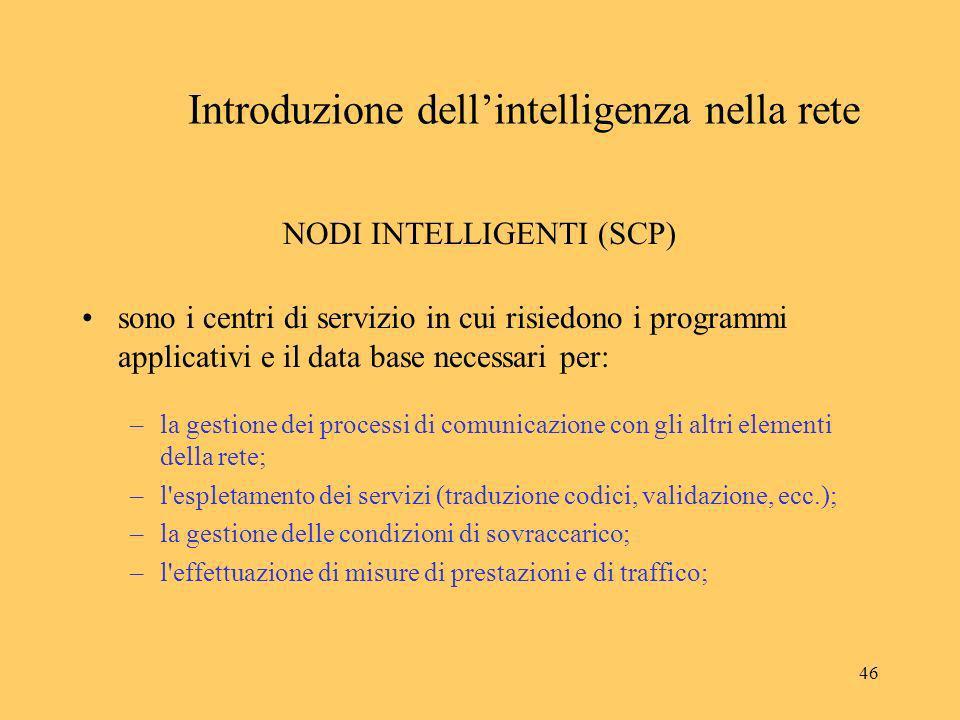 46 Introduzione dellintelligenza nella rete NODI INTELLIGENTI (SCP) sono i centri di servizio in cui risiedono i programmi applicativi e il data base