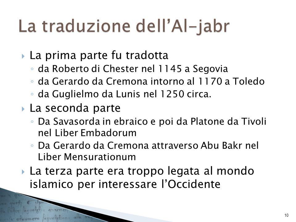 La prima parte fu tradotta da Roberto di Chester nel 1145 a Segovia da Gerardo da Cremona intorno al 1170 a Toledo da Guglielmo da Lunis nel 1250 circ