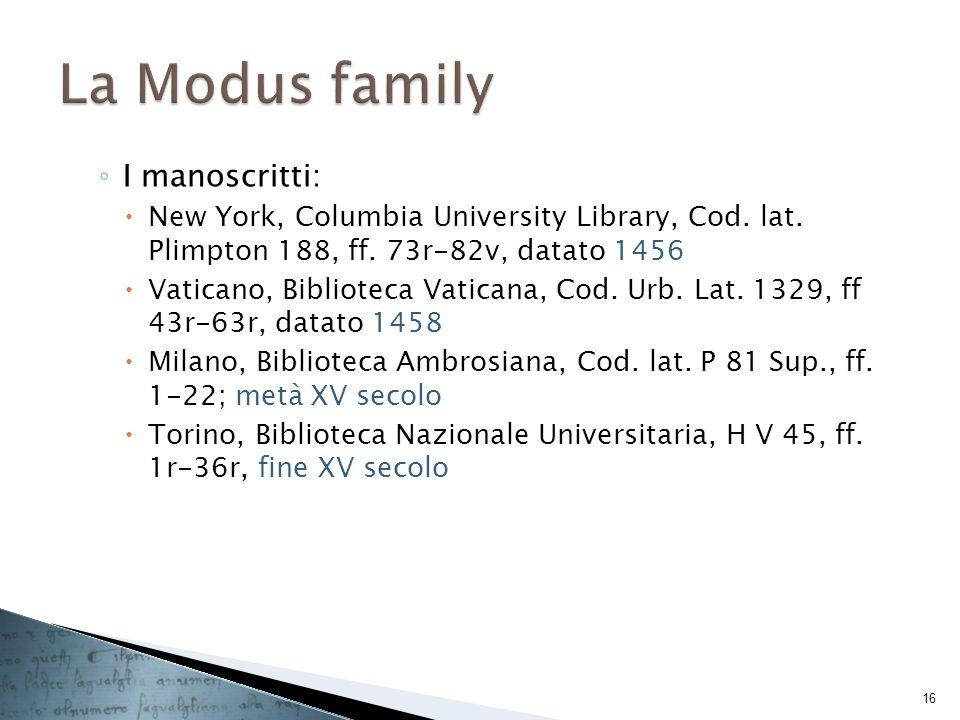 I manoscritti: New York, Columbia University Library, Cod. lat. Plimpton 188, ff. 73r-82v, datato 1456 Vaticano, Biblioteca Vaticana, Cod. Urb. Lat. 1