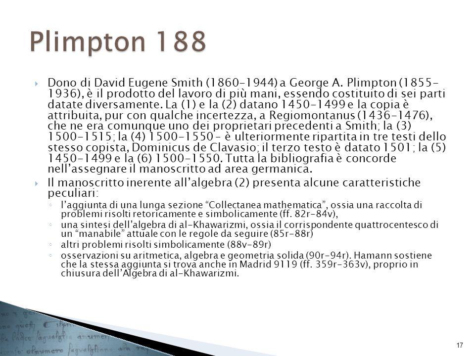 Dono di David Eugene Smith (1860-1944) a George A. Plimpton (1855- 1936), è il prodotto del lavoro di più mani, essendo costituito di sei parti datate