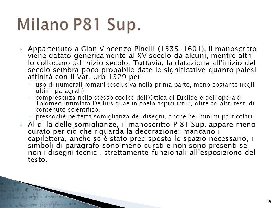 Appartenuto a Gian Vincenzo Pinelli (1535-1601), il manoscritto viene datato genericamente al XV secolo da alcuni, mentre altri lo collocano ad inizio