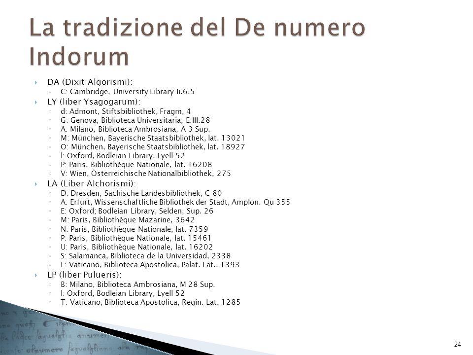 DA (Dixit Algorismi): C: Cambridge, University Library Ii.6.5 LY (liber Ysagogarum): d: Admont, Stiftsbibliothek, Fragm, 4 G: Genova, Biblioteca Unive
