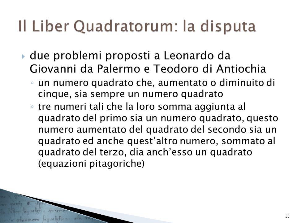 due problemi proposti a Leonardo da Giovanni da Palermo e Teodoro di Antiochia un numero quadrato che, aumentato o diminuito di cinque, sia sempre un