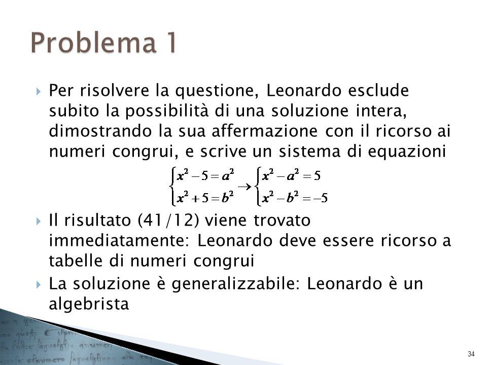 Per risolvere la questione, Leonardo esclude subito la possibilità di una soluzione intera, dimostrando la sua affermazione con il ricorso ai numeri c