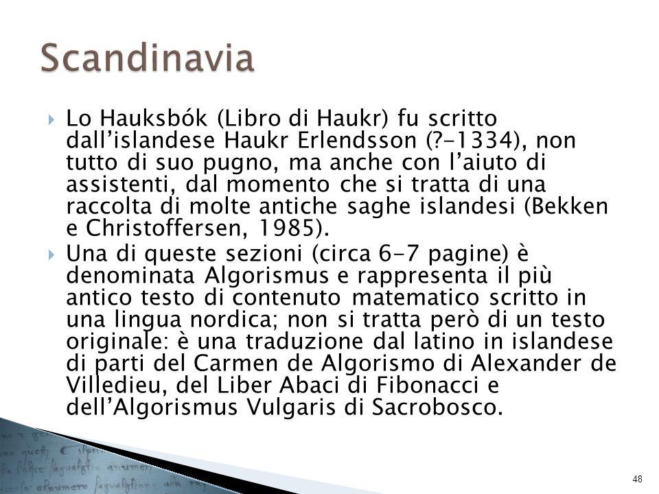 Lo Hauksbók (Libro di Haukr) fu scritto dallislandese Haukr Erlendsson (?-1334), non tutto di suo pugno, ma anche con laiuto di assistenti, dal moment