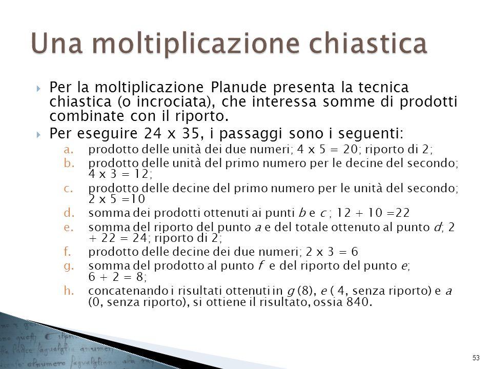 Per la moltiplicazione Planude presenta la tecnica chiastica (o incrociata), che interessa somme di prodotti combinate con il riporto. Per eseguire 24