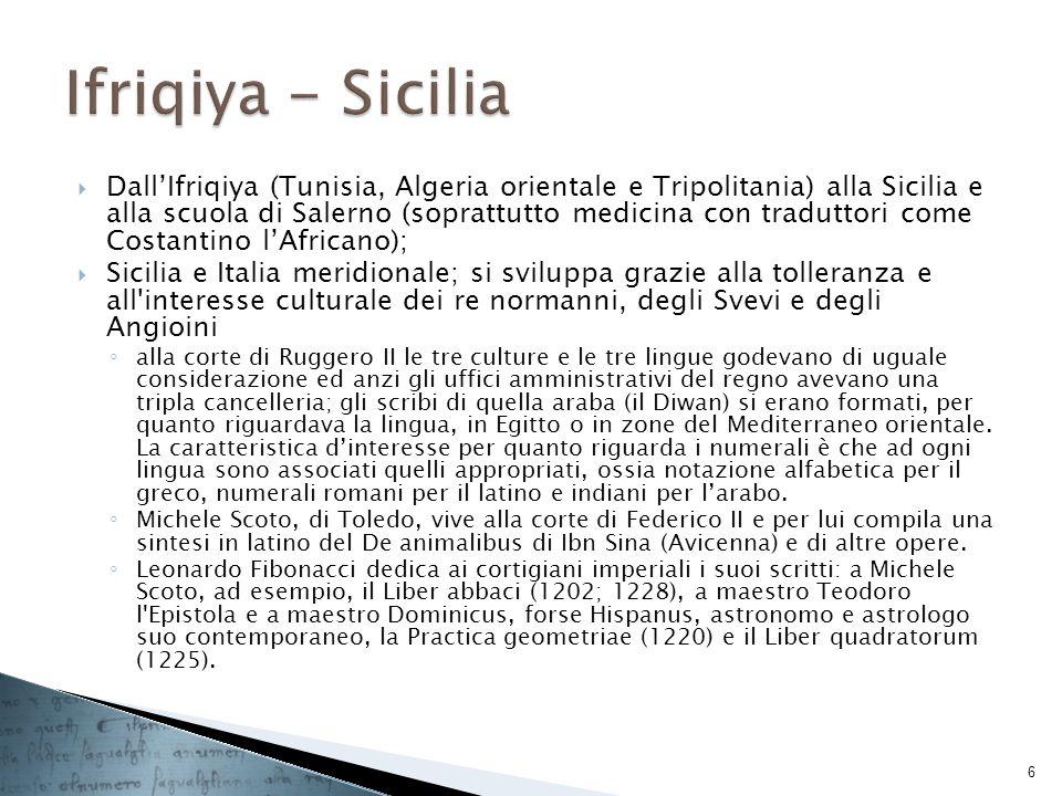 DallIfriqiya (Tunisia, Algeria orientale e Tripolitania) alla Sicilia e alla scuola di Salerno (soprattutto medicina con traduttori come Costantino lA