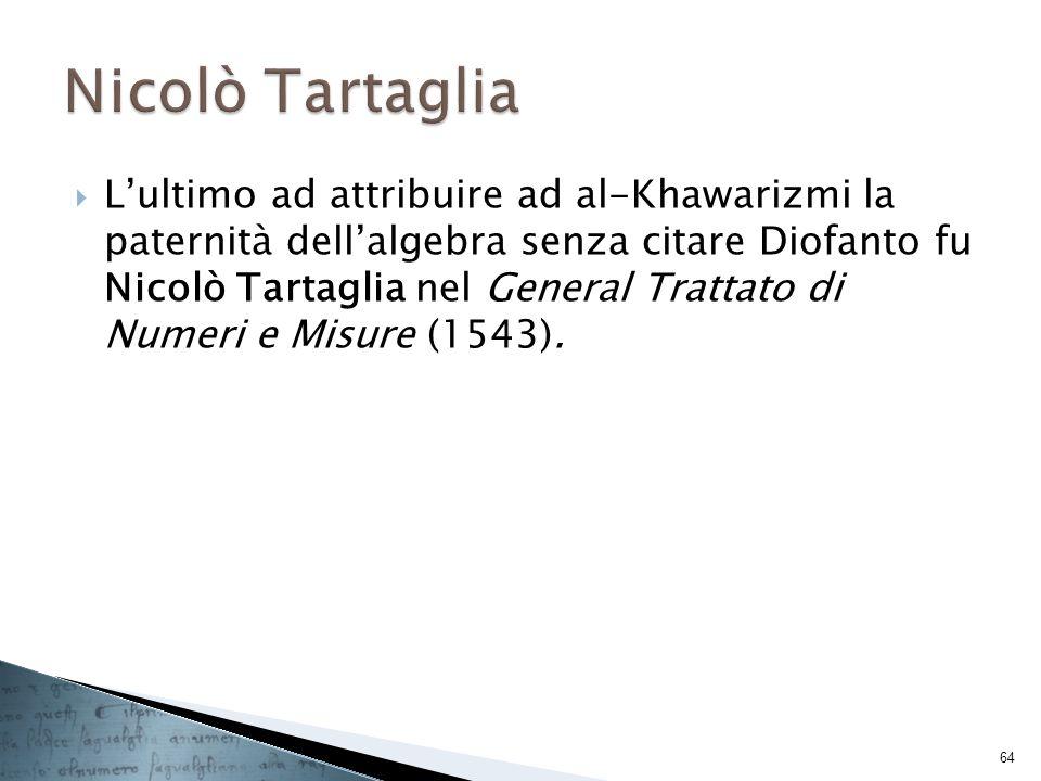 Lultimo ad attribuire ad al-Khawarizmi la paternità dellalgebra senza citare Diofanto fu Nicolò Tartaglia nel General Trattato di Numeri e Misure (154