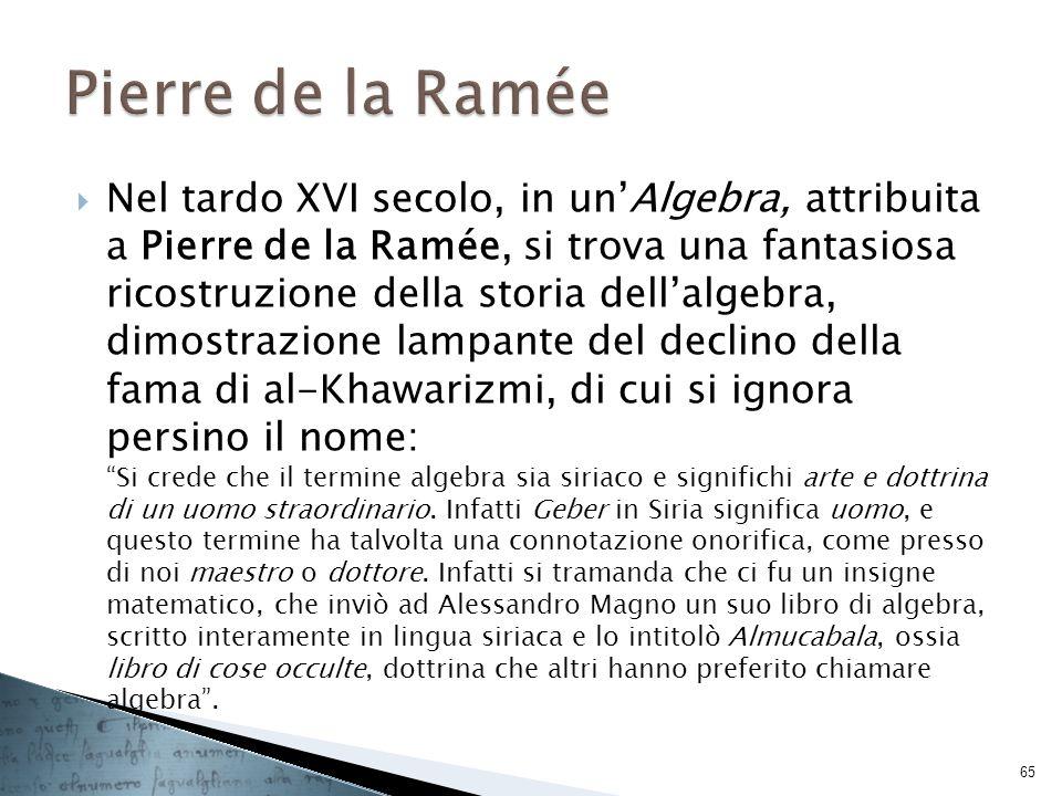Nel tardo XVI secolo, in unAlgebra, attribuita a Pierre de la Ramée, si trova una fantasiosa ricostruzione della storia dellalgebra, dimostrazione lam