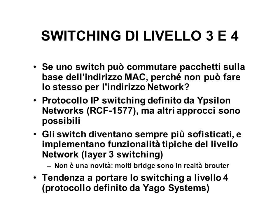 SWITCHING DI LIVELLO 3 E 4 Se uno switch può commutare pacchetti sulla base dell'indirizzo MAC, perché non può fare lo stesso per l'indirizzo Network?