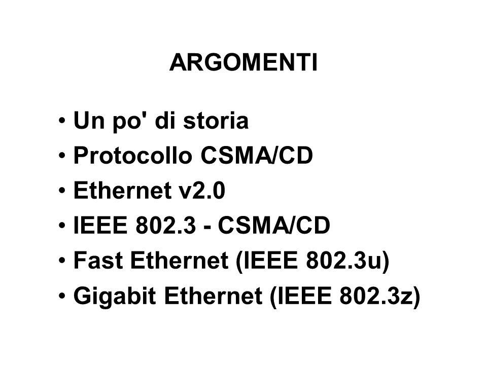 ARGOMENTI Un po' di storia Protocollo CSMA/CD Ethernet v2.0 IEEE 802.3 - CSMA/CD Fast Ethernet (IEEE 802.3u) Gigabit Ethernet (IEEE 802.3z)