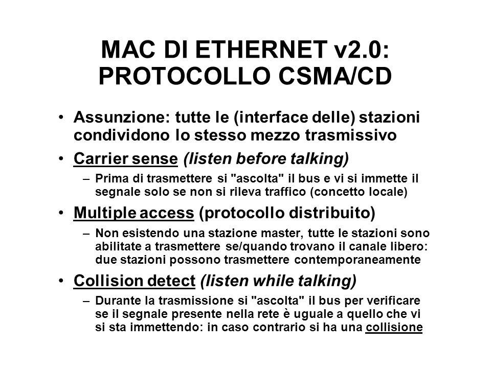 MAC DI ETHERNET v2.0: PROTOCOLLO CSMA/CD Assunzione: tutte le (interface delle) stazioni condividono lo stesso mezzo trasmissivo Carrier sense (listen