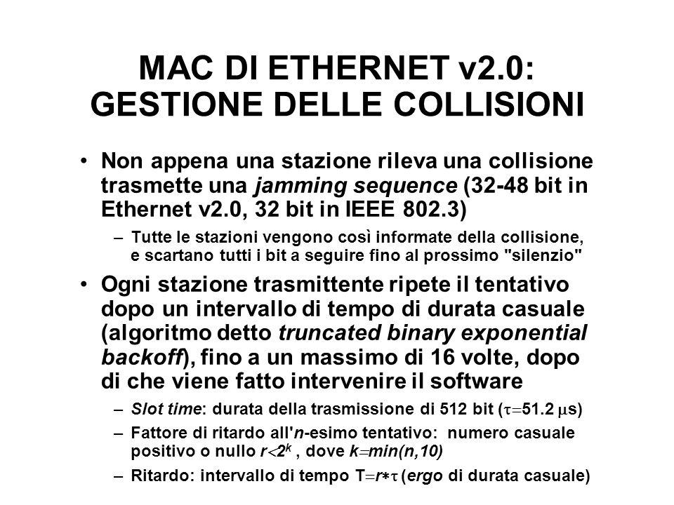 MAC DI ETHERNET v2.0: GESTIONE DELLE COLLISIONI Non appena una stazione rileva una collisione trasmette una jamming sequence (32-48 bit in Ethernet v2