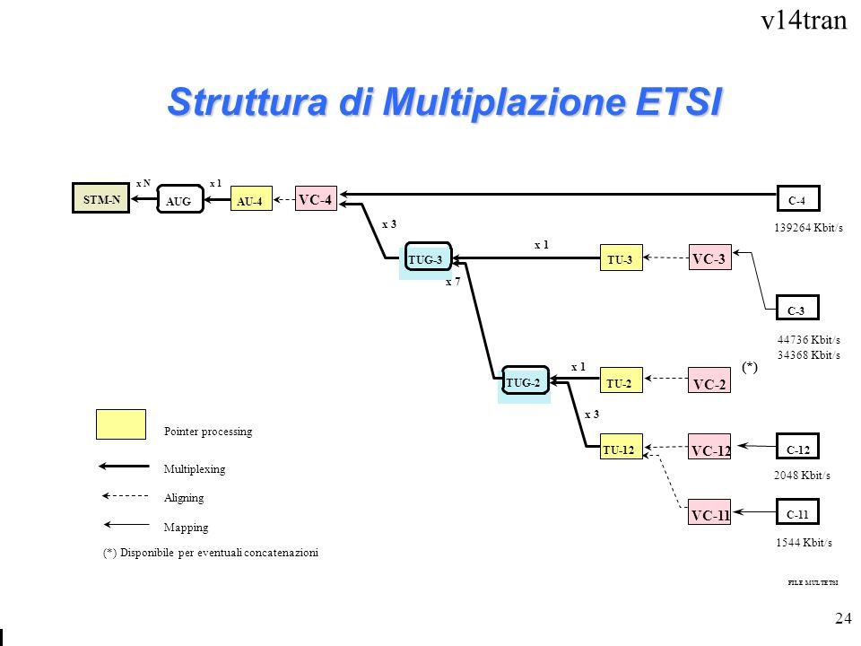 v14tran 24 Struttura di Multiplazione ETSI STM-N AUG AU-4 VC-4 C-4 TU-3 VC-3 C-3 C-12 C-11 TU-2 TU-12 VC-2 VC-12 VC-11 Pointer processing Multiplexing