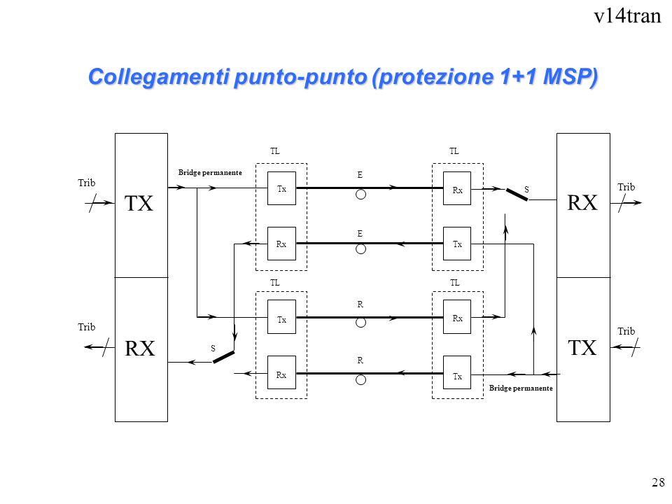 v14tran 28 E R E R TL Tx Rx RX TX Trib S S TL Bridge permanente Collegamenti punto-punto (protezione 1+1 MSP) TX RX