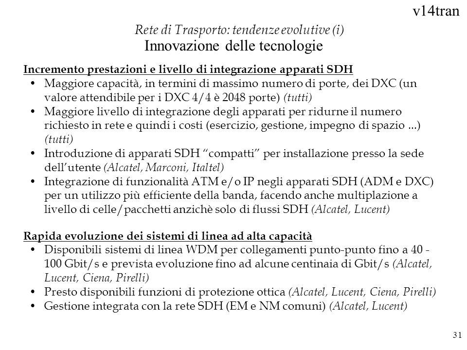 v14tran 31 Incremento prestazioni e livello di integrazione apparati SDH Maggiore capacità, in termini di massimo numero di porte, dei DXC (un valore