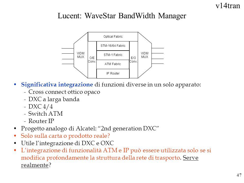 v14tran 47 Significativa integrazione di funzioni diverse in un solo apparato: -Cross connect ottico opaco -DXC a larga banda -DXC 4/4 -Switch ATM -Ro