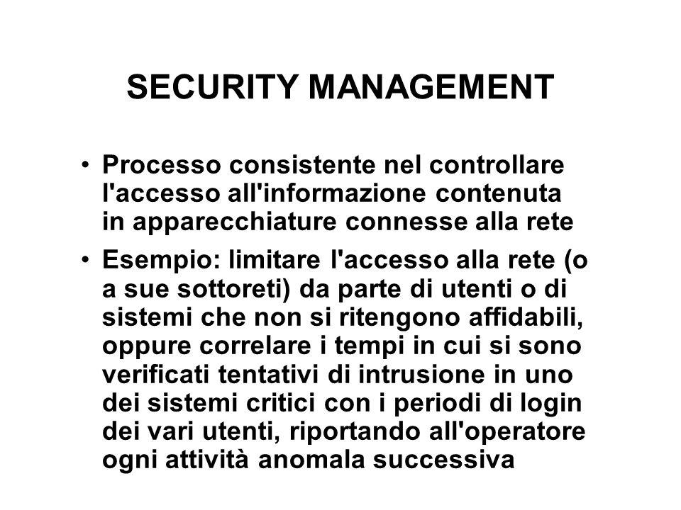 SECURITY MANAGEMENT Processo consistente nel controllare l'accesso all'informazione contenuta in apparecchiature connesse alla rete Esempio: limitare