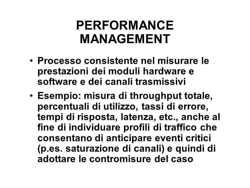 PERFORMANCE MANAGEMENT Processo consistente nel misurare le prestazioni dei moduli hardware e software e dei canali trasmissivi Esempio: misura di thr