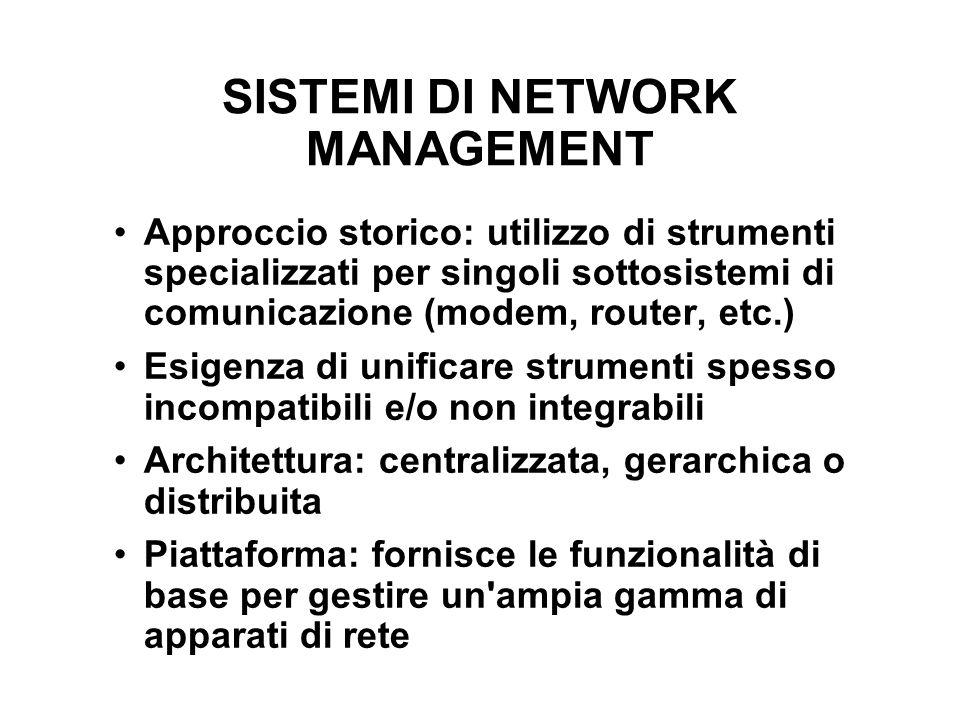 SISTEMI DI NETWORK MANAGEMENT Approccio storico: utilizzo di strumenti specializzati per singoli sottosistemi di comunicazione (modem, router, etc.) E