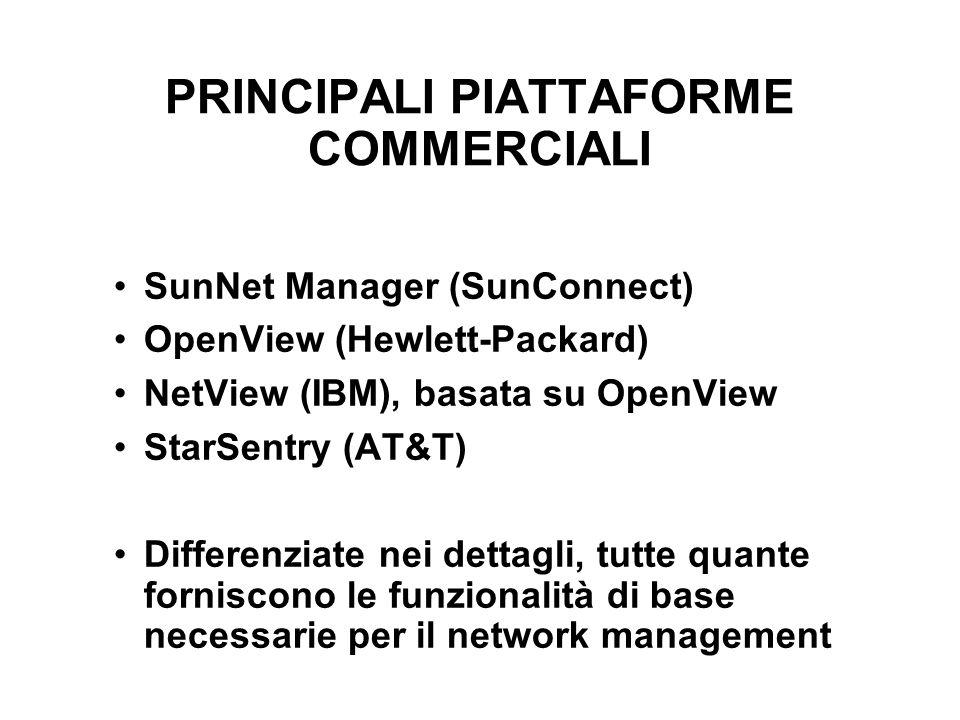 PRINCIPALI PIATTAFORME COMMERCIALI SunNet Manager (SunConnect) OpenView (Hewlett-Packard) NetView (IBM), basata su OpenView StarSentry (AT&T) Differenziate nei dettagli, tutte quante forniscono le funzionalità di base necessarie per il network management