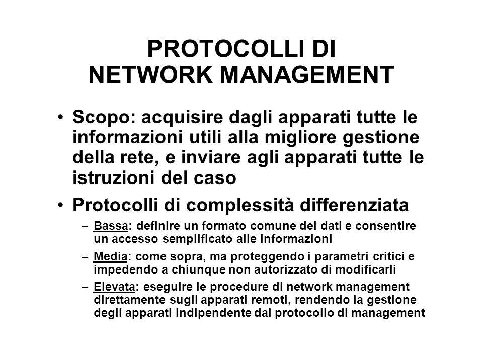 PROTOCOLLI DI NETWORK MANAGEMENT Scopo: acquisire dagli apparati tutte le informazioni utili alla migliore gestione della rete, e inviare agli apparat