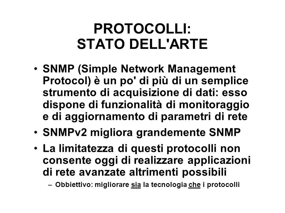 PROTOCOLLI: STATO DELL'ARTE SNMP (Simple Network Management Protocol) è un po' di più di un semplice strumento di acquisizione di dati: esso dispone d