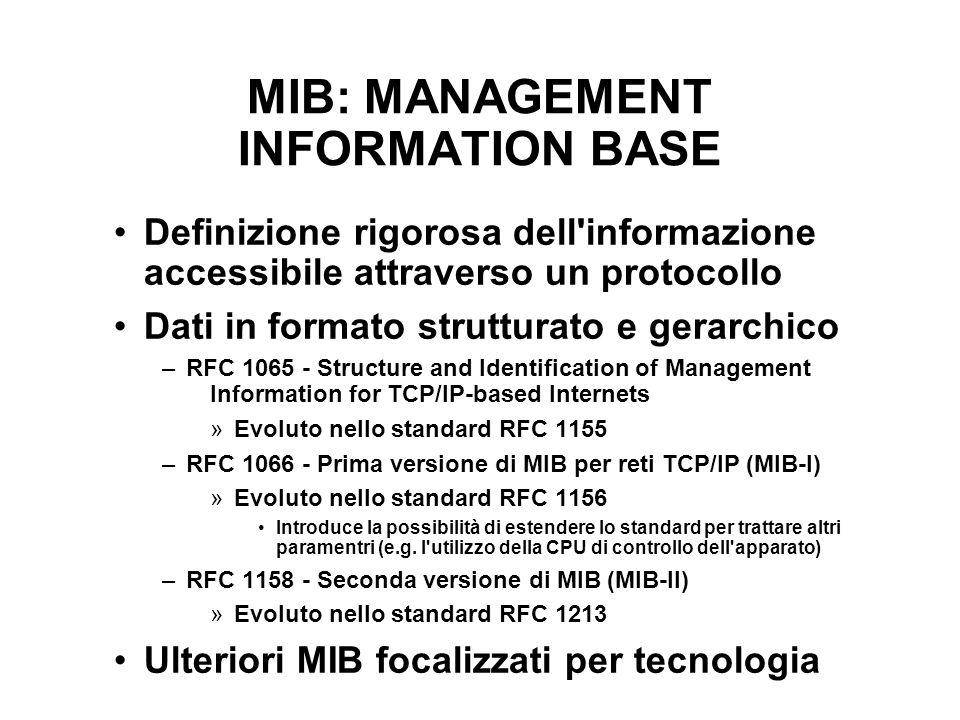 MIB: MANAGEMENT INFORMATION BASE Definizione rigorosa dell'informazione accessibile attraverso un protocollo Dati in formato strutturato e gerarchico