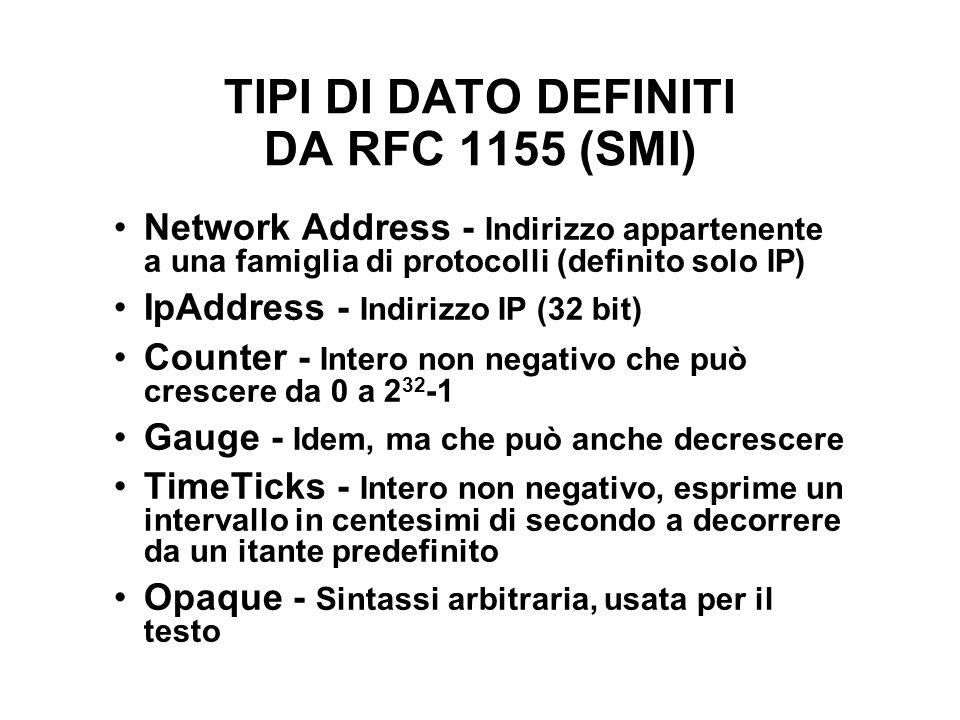 TIPI DI DATO DEFINITI DA RFC 1155 (SMI) Network Address - Indirizzo appartenente a una famiglia di protocolli (definito solo IP) IpAddress - Indirizzo