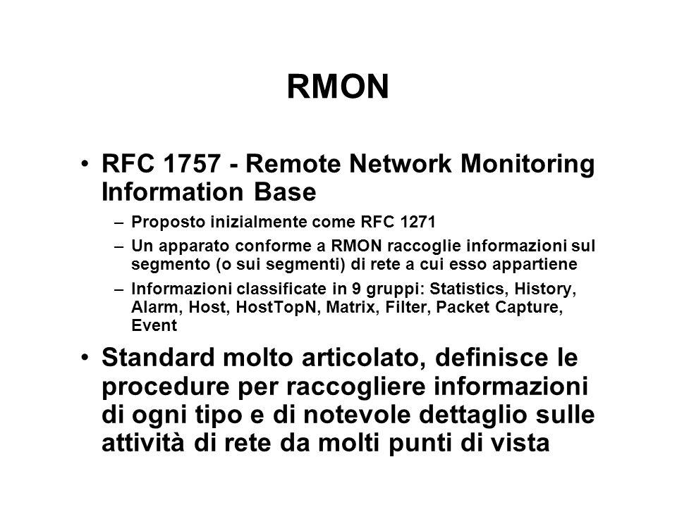 RMON RFC 1757 - Remote Network Monitoring Information Base –Proposto inizialmente come RFC 1271 –Un apparato conforme a RMON raccoglie informazioni su