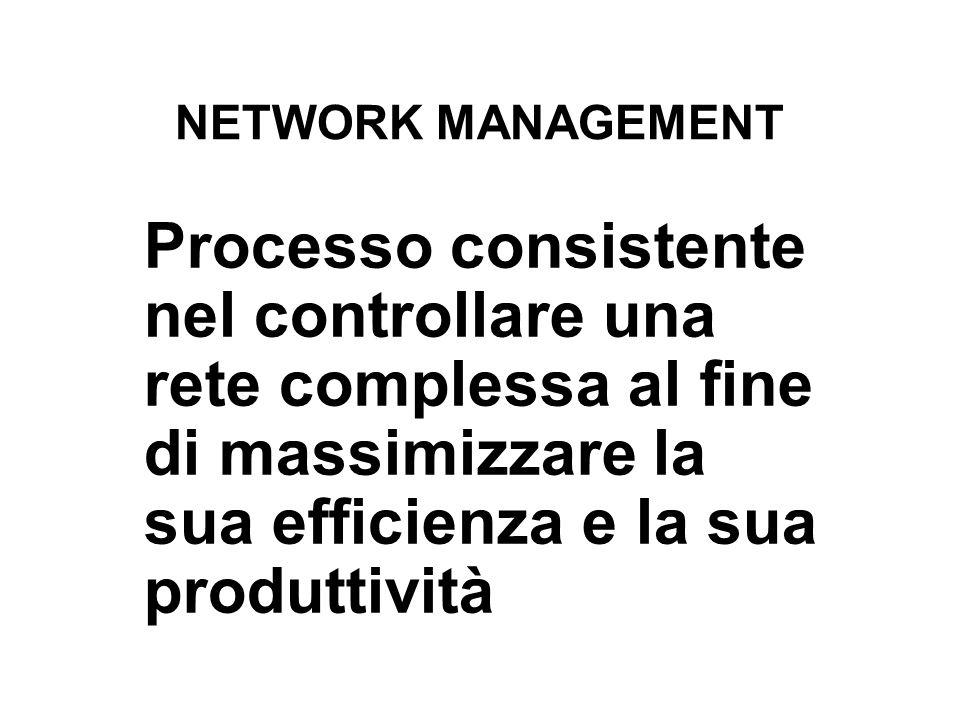 NETWORK MANAGEMENT Processo consistente nel controllare una rete complessa al fine di massimizzare la sua efficienza e la sua produttività