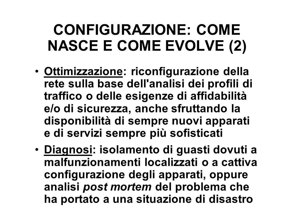 CONFIGURAZIONE: COME NASCE E COME EVOLVE (2) Ottimizzazione: riconfigurazione della rete sulla base dell'analisi dei profili di traffico o delle esige