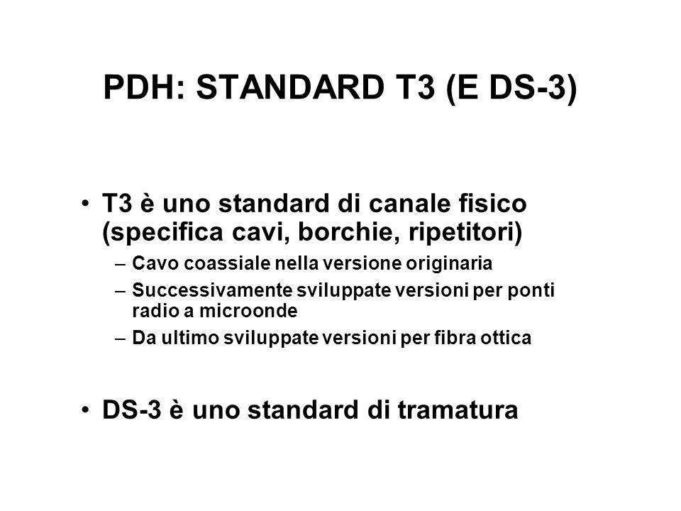 PDH: STANDARD T3 (E DS-3) T3 è uno standard di canale fisico (specifica cavi, borchie, ripetitori) –Cavo coassiale nella versione originaria –Successivamente sviluppate versioni per ponti radio a microonde –Da ultimo sviluppate versioni per fibra ottica DS-3 è uno standard di tramatura