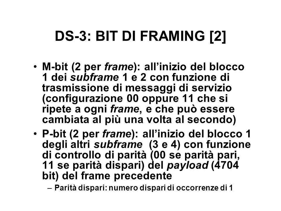DS-3: BIT DI FRAMING [2] M-bit (2 per frame): allinizio del blocco 1 dei subframe 1 e 2 con funzione di trasmissione di messaggi di servizio (configurazione 00 oppure 11 che si ripete a ogni frame, e che può essere cambiata al più una volta al secondo) P-bit (2 per frame): allinizio del blocco 1 degli altri subframe (3 e 4) con funzione di controllo di parità (00 se parità pari, 11 se parità dispari) del payload (4704 bit) del frame precedente –Parità dispari: numero dispari di occorrenze di 1