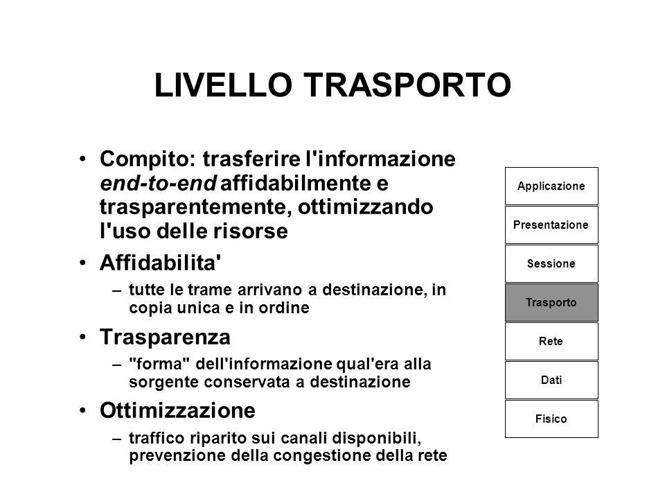 LIVELLO TRASPORTO Compito: trasferire l'informazione end-to-end affidabilmente e trasparentemente, ottimizzando l'uso delle risorse Affidabilita' –tut
