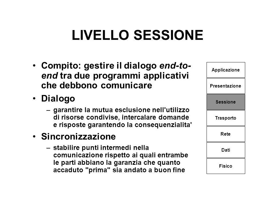 LIVELLO SESSIONE Compito: gestire il dialogo end-to- end tra due programmi applicativi che debbono comunicare Dialogo –garantire la mutua esclusione n
