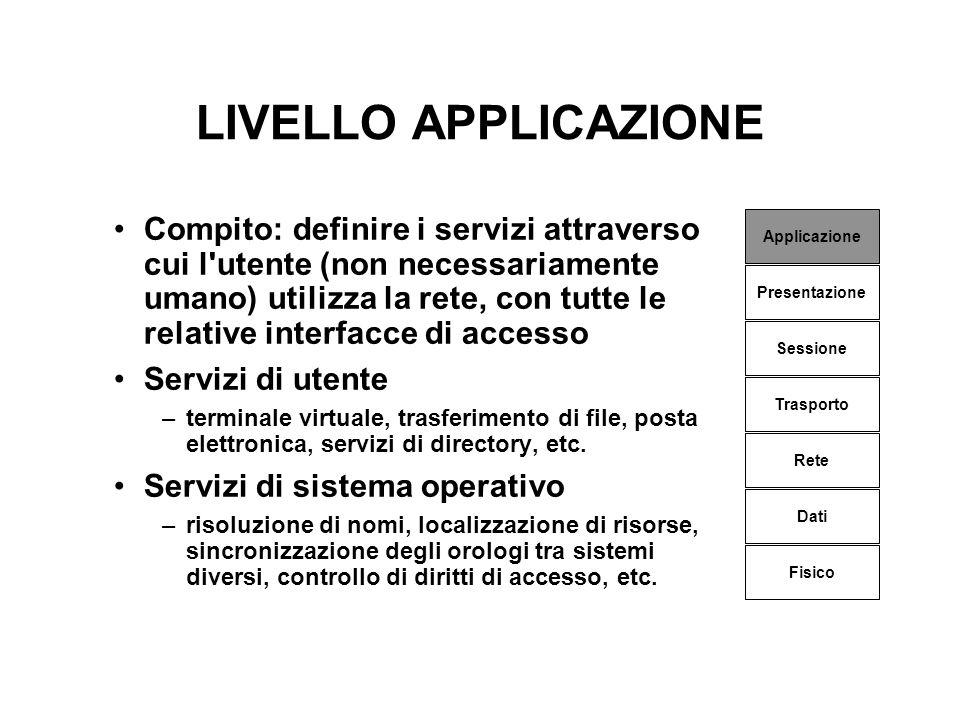 LIVELLO APPLICAZIONE Compito: definire i servizi attraverso cui l'utente (non necessariamente umano) utilizza la rete, con tutte le relative interfacc