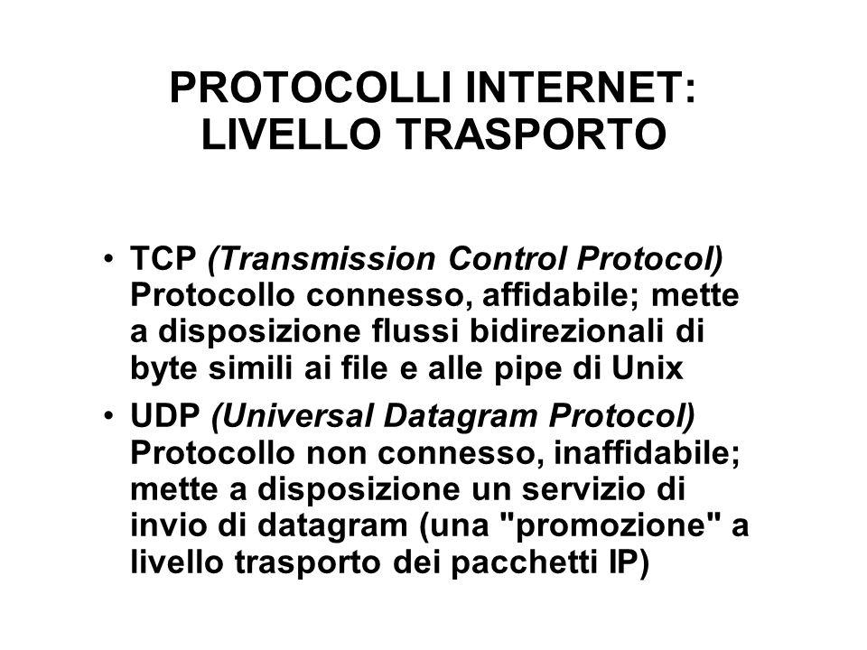 PROTOCOLLI INTERNET: LIVELLO TRASPORTO TCP (Transmission Control Protocol) Protocollo connesso, affidabile; mette a disposizione flussi bidirezionali