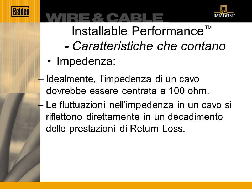 Installable Performance - Caratteristiche che contano Impedenza: –Idealmente, limpedenza di un cavo dovrebbe essere centrata a 100 ohm.