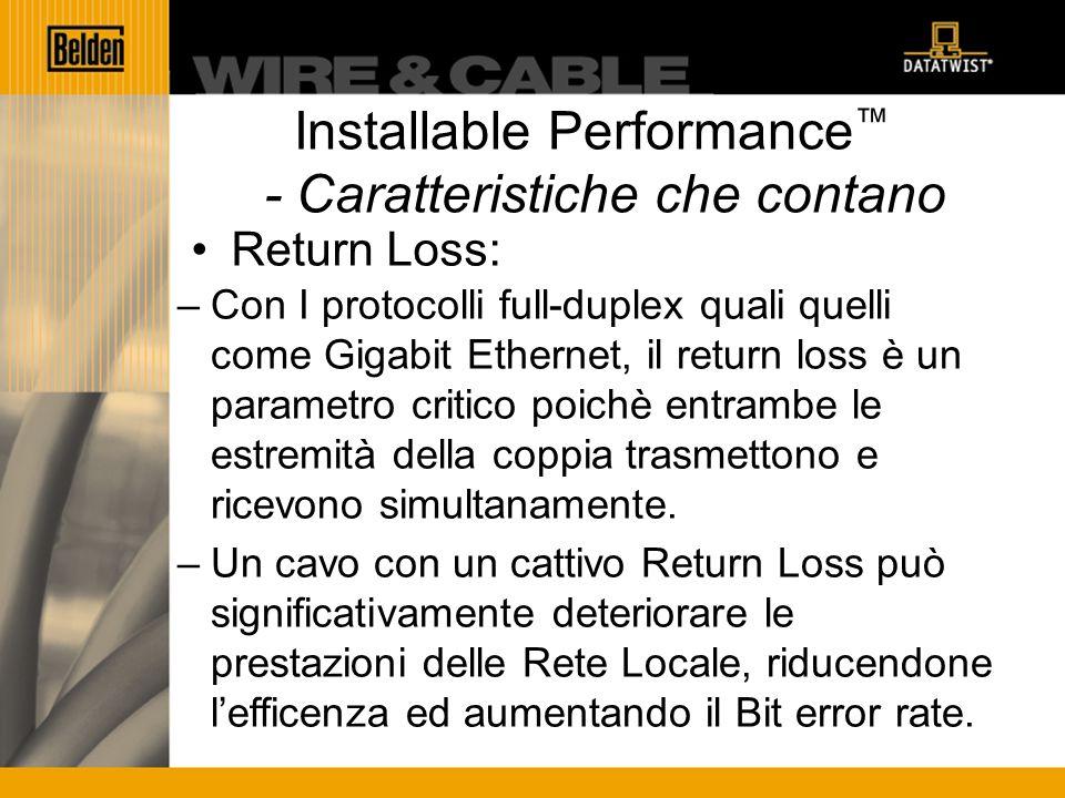 Installable Performance - Caratteristiche che contano Return Loss: –Con I protocolli full-duplex quali quelli come Gigabit Ethernet, il return loss è un parametro critico poichè entrambe le estremità della coppia trasmettono e ricevono simultanamente.