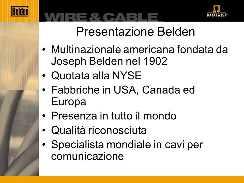 Presentazione Belden Multinazionale americana fondata da Joseph Belden nel 1902 Quotata alla NYSE Fabbriche in USA, Canada ed Europa Presenza in tutto il mondo Qualità riconosciuta Specialista mondiale in cavi per comunicazione