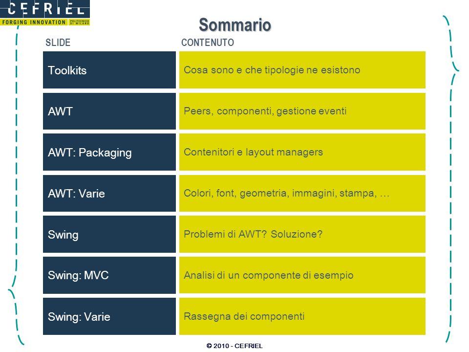 © 2010 - CEFRIEL Sommario SLIDECONTENUTO Toolkits Cosa sono e che tipologie ne esistono AWT Peers, componenti, gestione eventi AWT: Varie Colori, font