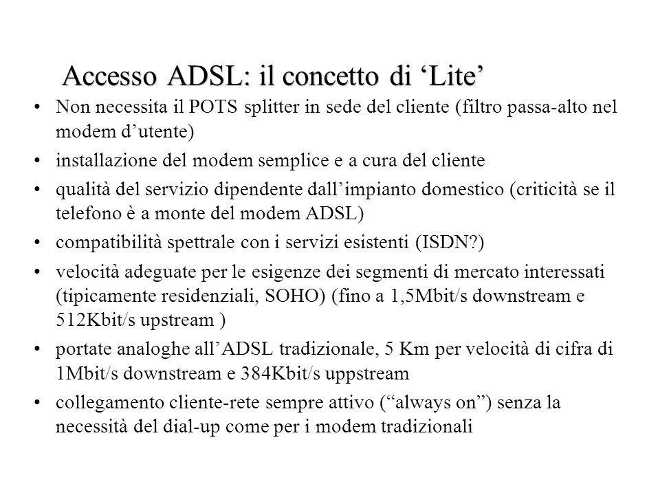 Accesso ADSL: il concetto di Lite Non necessita il POTS splitter in sede del cliente (filtro passa-alto nel modem dutente) installazione del modem sem