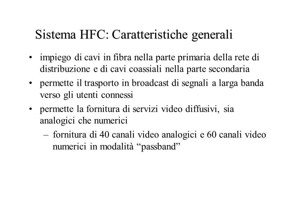 Sistema HFC: Caratteristiche generali impiego di cavi in fibra nella parte primaria della rete di distribuzione e di cavi coassiali nella parte second