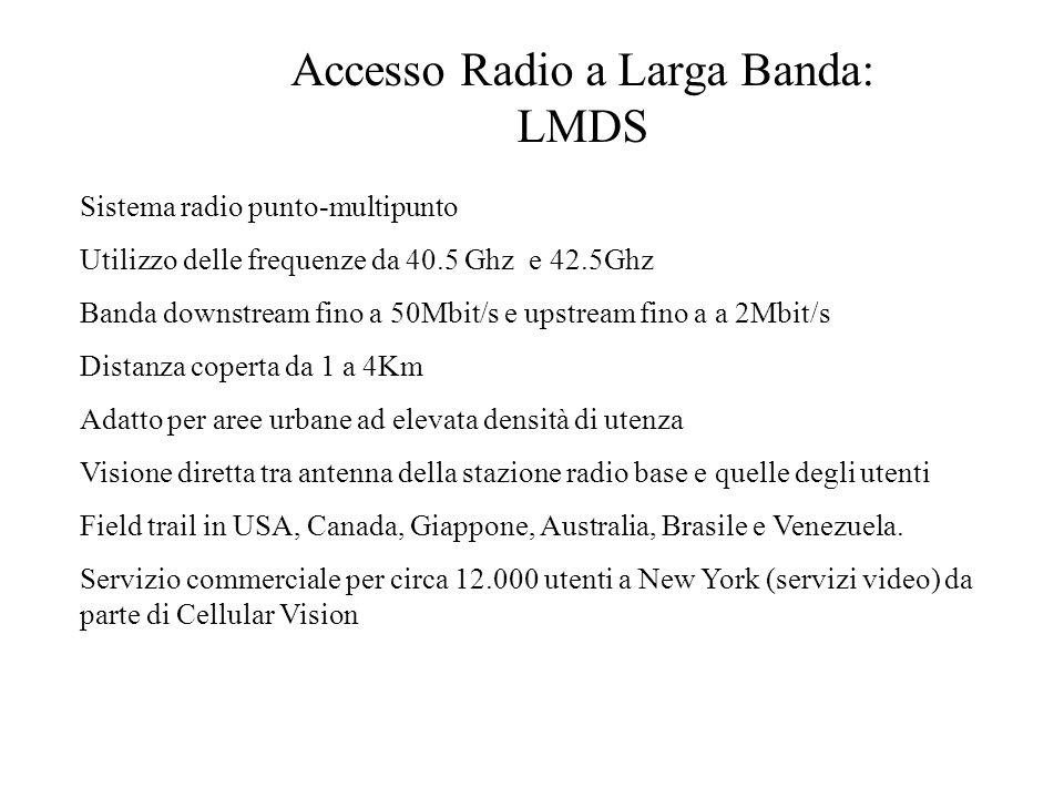 Accesso Radio a Larga Banda: LMDS Sistema radio punto-multipunto Utilizzo delle frequenze da 40.5 Ghz e 42.5Ghz Banda downstream fino a 50Mbit/s e ups
