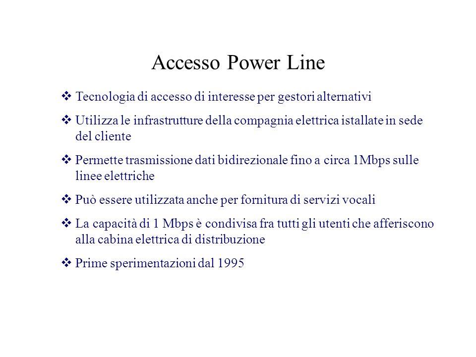 Accesso Power Line Tecnologia di accesso di interesse per gestori alternativi Utilizza le infrastrutture della compagnia elettrica istallate in sede d