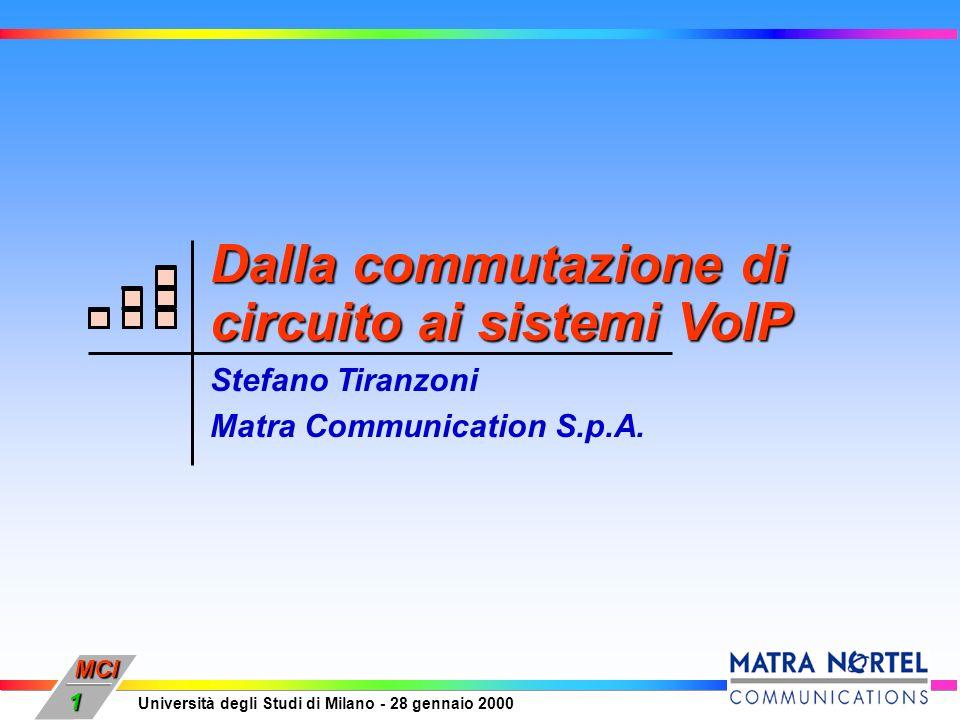 MCI Università degli Studi di Milano - 28 gennaio 2000 1 Dalla commutazione di circuito ai sistemi VoIP Stefano Tiranzoni Matra Communication S.p.A.