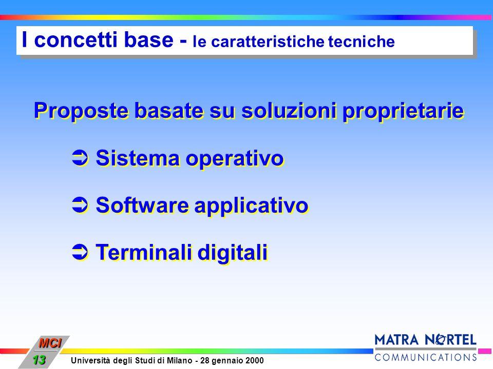 MCI Università degli Studi di Milano - 28 gennaio 2000 13 I concetti base - le caratteristiche tecniche Proposte basate su soluzioni proprietarie Sist